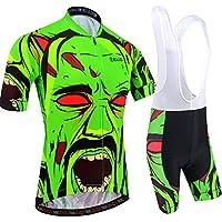 BXIO Camisetas de Ciclismo para Hombre Fluo Green Mangas Cortas y Pantalones Cortos Acolchados con Gel Trajes de Ciclismo Transpirables Ropa Ciclismo 204 (Fluo Green(204,Bib Shorts), L)