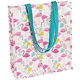 LS Design Shopper Einkaufstasche recycled Strandtasche Schultertasche Flamingo