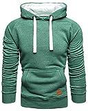 Amaci&Sons Herren Basic Kontrast Kapuzenpullover Sweatjacke Pullover Hoodie Sweatshirt 1-04027 Grün XL