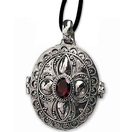 DarkDragon Ovaler Gift Anhänger Granatstein 925er Silber Schmuck mit Lederhalsband Schmucksäckchen und Karte 118
