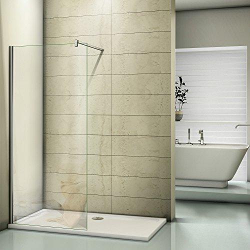 Duschwand 120x200cm Walk in Dusche Duschtrennwand 8mm Easy-clean Nano Glas Duschabtrennung mit Stabilisierungsstange