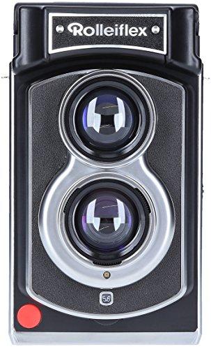 Rolleiflex Sofortbildkamera - Instant Kamera im hochwertigen Retro Design und mit integriertem Blitz, manueller Bildausgabe und Umgebungslichtmesser - Schwarz