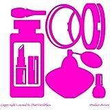 Perfumería, Cosmetics, Perfume, de laca de uñas, efecto espejo, de cara de polvo, diseño con forma de pintalabios (19 cm x 19 cm) color rosa para baño, infantil, para niños juego de pegatinas decorativas, vinilo de coche, Windows y adhesivo decorativo para pared, diseño de pared Windows, adhesivo, diseño de vinilo adhesivo para ThatVinylPlace