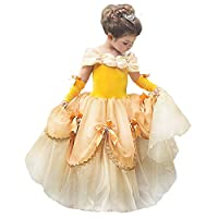 Princess Belle Costume Beauty and The Beast Dresses Halloween Party Fancy Dress up Princess Dresses for Girl, Belle, 6-7Years(height 120cm)