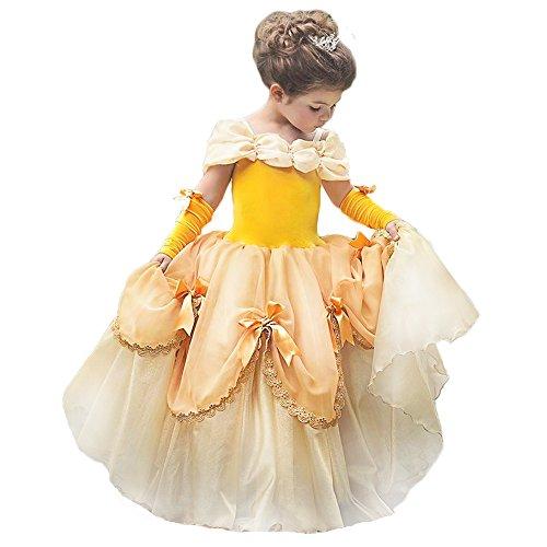 CQDY Belle Princess Kostüm Schönheit und das Biest Kleider Halloween Party Fancy Dress up Prinzessin Kleider für (Belle Und Das Biest Kostüme)