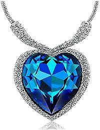 Lily joyería Azul Heart of The Ocean Cristal austríaco lámpara de techo Titanic collar con colgante en forma de manga corta para mujer