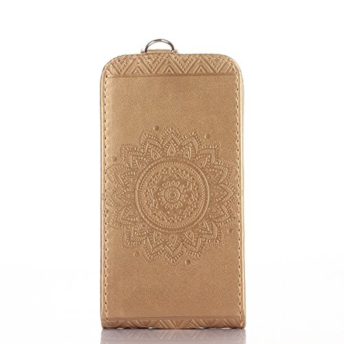 Étui en cuir PU pour Apple iPhone 4 / 4S,Vertical Pliable Rabat Shell pour iPhone 4,iPhone 4S Flip Cover,Ekakashop Etui avec Motif de D'or Mandala Retro Tendance Style Portable Coque de Protection Mag D'or