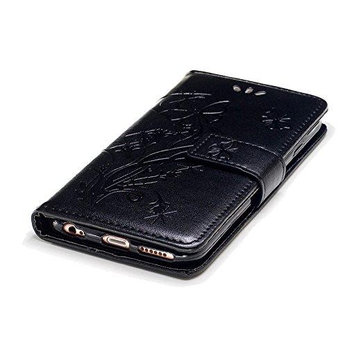 Portefeuille Coque pour iPhone 6 / 6S,SKYXD Magnétique Flip Cuir Portefeuille Cas Couverture avec Balle Stylo Toucher Style pour Apple iPhone 6 / 6S + Bouchon de poussiere + Stylo,Bleu Noir