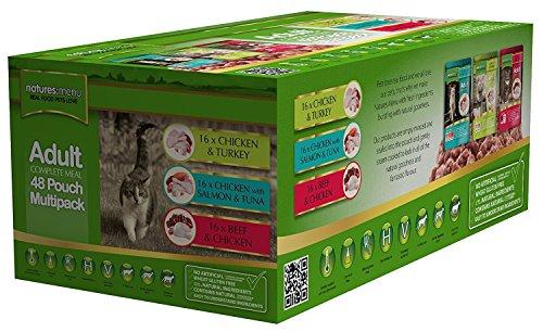 Natures Menu Katze Multi 48Stück von Lebensmitteln–Bulk kaufen Huhn & Pute, Rind & Huhn, Huhn, Lachs & Thunfisch