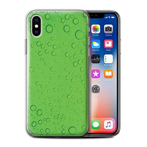 Stuff4 Gel TPU Hülle / Case für Apple iPhone X/10 / Orange/Gelb Muster / Wassertropfen Kollektion Grün
