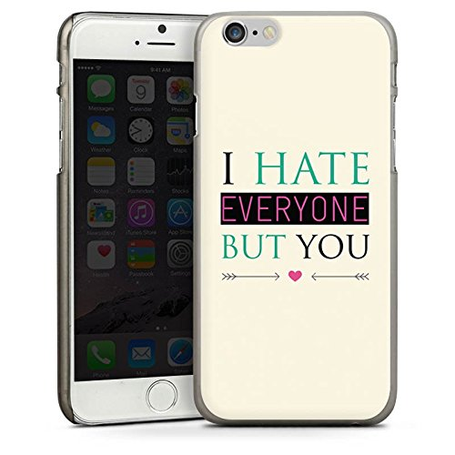 Apple iPhone 4 Housse Étui Silicone Coque Protection Phrase Amour haine C½ur CasDur anthracite clair