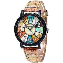 Sunnywill Frauen Mädchen Damen Schöne Mode Graffiti Muster Leder Band Analog Quarz Vogue Handgelenk Uhren für Weibliche Studenten