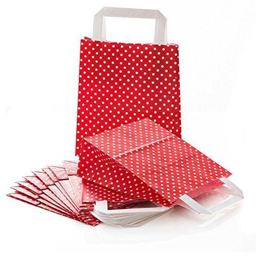 10 kleine rot weiß gepunktet Papiertüte Papiertasche Geschenktüte 18 x 8 x 22 cm Geschenkbeutel Verpackung Geschenk Weihnachten Tüte Weihnachtsverpackung (Weiße Und Rote Papier-tüten)