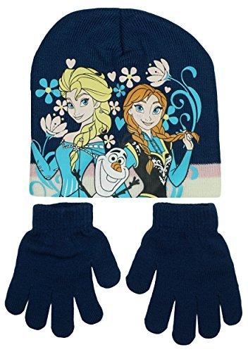 Filles Disney Frozen Anna Elsa Olaf Calotte Tricot Ensemble Chapeau & Gants tailles de 3 à 40 An Bleu Marine
