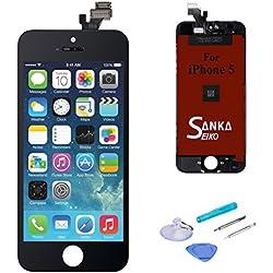 SANKA Ecran LCD pour iPhone 5, Retina Tactile Écran Vitre Display Digitizer Kit de Réparation Complet - Noir (Free outils Inclus)