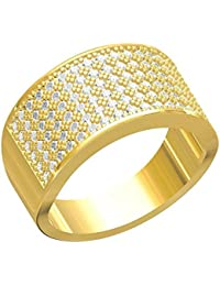 Spangel Fashion Designer 18 Ct. Gold Plated American Diamond Jewellery Ring For Men - B0785613XT