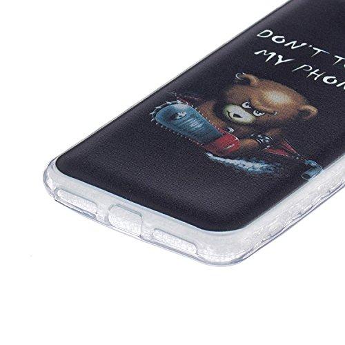 Ukayfe Custodia per Huawei Y5 II,Ultra Slim TPU Gel Gomma Silicone Copertura Case per Huawei Y5 II,Moda Serie Pattern Back Cover Crystal Skin Custodia Stilosa custodia di design Protettiva Shell Case  Chainsaw Orso