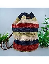 YNNB Empalme Bolsa de Cubo de Paja, señoras Moda Crochet Bolso Bandolera Tejida Bolsa de Hombro Verano Playa…