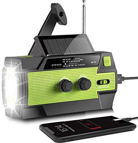 Oferta de Radio solar AONCO AM/FM/NOAA, radio de manivela portátil, USB, recargable, con batería externa de 4000 mAh, linterna LED, alarma SOS y luz de lectura para camping, supervivencia, viajes, emergencia