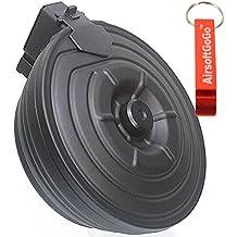 2500rds Metal Electric Drum Cargador para Marui AK Standard Airsoft AEG (Negro) - AirsoftGoGo Llavero Incluido