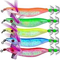 OriGlam - Señuelos luminosos para pesca de agua salada, 5 unidades, para calamar, pulpo, camarón, cebos blandos para agua dulce y salada