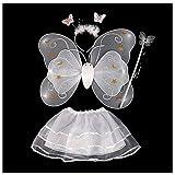 Set disfraz de hada mariposa con alas, antenas, falda tutu gasa y varita magica blanco angel juegos disfraces fiesta cumpleaños regalo sorpresa Festival de Navidad colegio 47 x 35 cm de OPEN BUY
