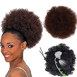 Afro Puff Drawstring Ponytail Synthetic Short Afro Kinkys Curly Afro Bun Extension Hairpieces Updo Hair Extensions with Two Clips