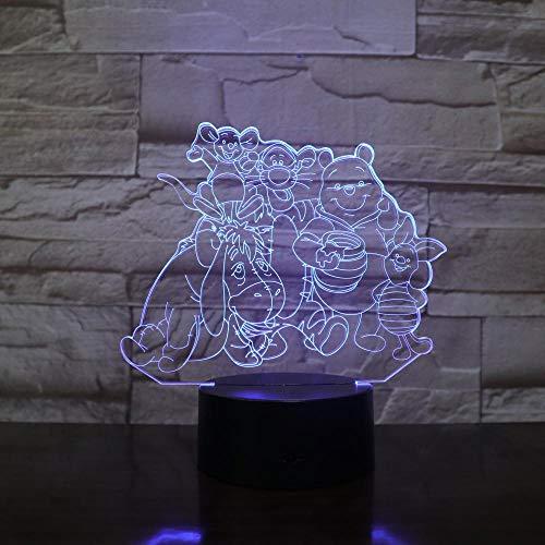 3D Nachttisch Bluetooth LampeBär Eeyore Tigger Friends Team 3D LED Nachtlicht 7 Farben Tischlampe Wohnkultur Kinder Geschenk Cartoon Geschenk