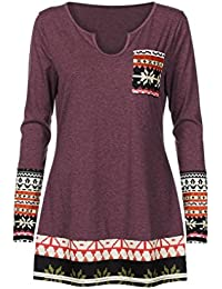 Overdose Women Tops Patchwork Casual Loose Long Sleeve T-Shirts Blouse