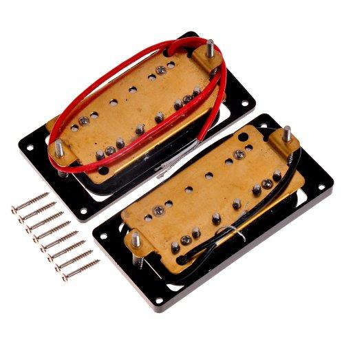 2 schwarz & rot Double Coil Humbucker 6-Saiten E-Gitarre, Hals Pickup+ Brücke Pickup
