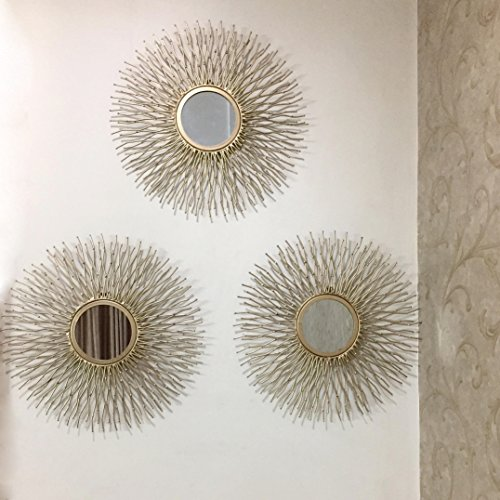Buy Sun Decorative Mirror Set Of 3 Mirrors Golden Online At Low Prices In India Sun Decorative Mirror Set Of 3 Mirrors Golden Reviews Ratings Ideakart Com India