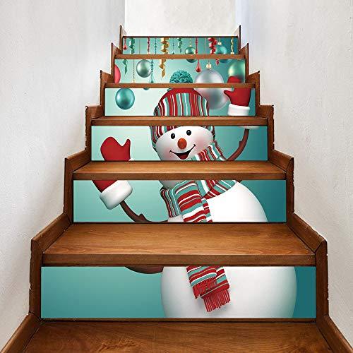Mitlfuny Weihnachten Home TüR Dekoration 2019,Weihnachten 3D Simulation Treppe Aufkleber Wasserdichte Wandaufkleber DIY Home ()