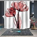 Topmail Rosso Fiore Tenda da Doccia in Poliestere con 12 Ganci Impermeabile Antimuffa Antibatterica Resistente Vasca da Bagno Decorazione Bianco 180x200cm