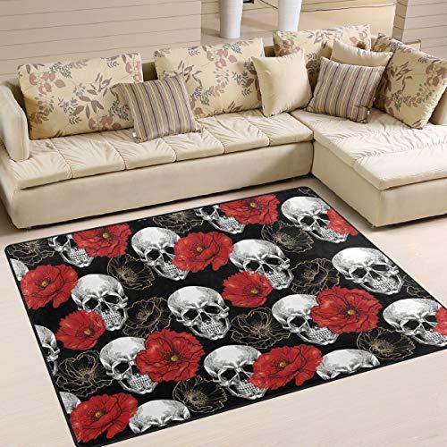 XiangHeFu Weiche Fußmatten 7 'x 5' (80 x 58 Zoll) Teppiche Schädel Blume Mohn Muster rutschfeste Bodenmatte ruhen für Wohnzimmer Schlafzimmer -
