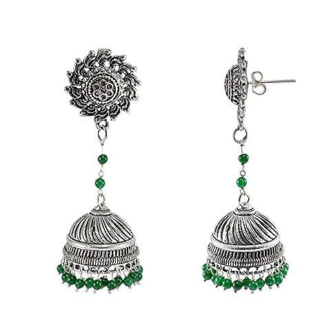 Silvestoo India Emerald Green Quartz Surya Studs Jhumka-Indian Jewellery-Traditional Earrings PG-108203