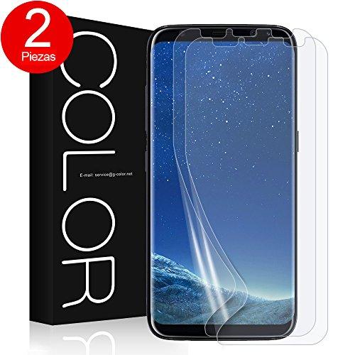 G-Color Galaxy S8 Protector de Pantalla, [2 Piezas], [Alta Definición y Sensibilidad] [Cobertura Perfecta] [Sin Burbujas] [Anti-arañazos] TPU, Protector de Pantalla para Samsung Galaxy S8