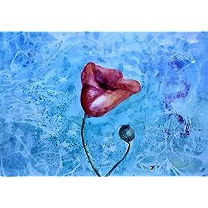 Mohnblume Blume A3 Wohnzimmer Bilder Wand Bilder Bilder Büro Gemälde Leinwand Kunst Bild auf Leinwand Wanddekoration Handmade Bilder Bild Original Geschenk Weihnachtsgeschenk