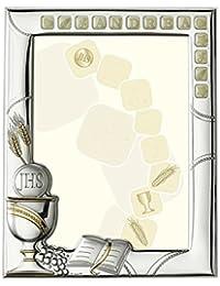 MARCO de PLATA bilaminada PARA COMUNION, lleva un Kit incluido con el que se puede Personalizar el Marco tal y como se refleja en la foto.