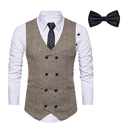 Dehots Herren Weste Anzug + Fliege Smoking Sakko Anzugweste Herrenweste Herrenanzug Slim fit Hochzeit feierlich Elegant