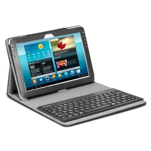 CAMPUS SG-T2BT10B Arizona Tasche mit Bluetooth Tastatur Und Stylus Eingabestift für Samsung Galaxy Tab 2 25,65 cm (10,1 Zoll), Kunstleder, Schwarz