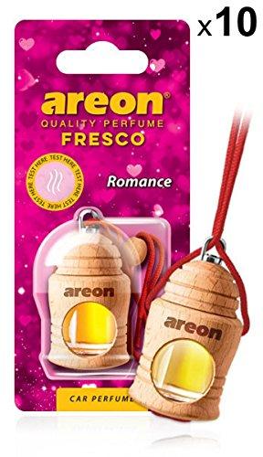 Areon Fresco Auto Parfüm Romantik Autoduft Hängend Glas Flasche Duftflakon Rot Holz Flakon...
