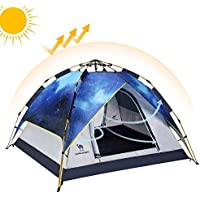 Double Layer Shelter Waterproof Automatic Family Tent For 2-3 Person Outdoor Hiking Camping Beach
