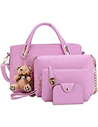6f4d21318a FiveloveTwo Women 4Pcs Top Handle Satchel Hobo PU Leather Handbag Set Large  Tote +Purse +Shoulder…