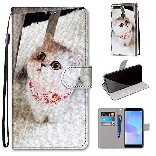 Miagon Flip PU Leder Schutzhülle für Huawei Y7 2018,Bunt Muster Hülle Brieftasche Case Cover Ständer mit Kartenfächer Trageschlaufe,Schal Katze