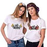 Best Friends T-Shirts für 2 Mädchen BFF Sister Shirts für Zwei Damen Beste Freunde Tshirts Pärchen Freundin Geschenke (Weiß, S + S)