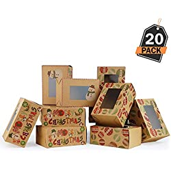 Kompanion Boîtes-Cadeaux de Noël Lot de 20 Pièces de Beignets à Emporter, Contenant Beignets de Noël, Friandises et Cadeaux de Noël, Parfait pour Don de Cadeaux de Noël