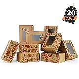 20 Cajas de Regalo para Navidad - Cajas Kfraft para Galletas, Donas o Rosquillas - Accesorio para Repostería, Sorpresas y Mas