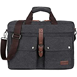 BAOSHA BC-07 Vintage Leinwand Herren Aktentasche Businesstaschen Laptoptasche groß passend für 14 ~ 17 Zoll Laptop Notebook Männer Segeltuch Arbeitstasche Umhängetasche Schultertaschen (Schwarz)