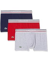 Lacoste Multipack Trunk (3pk), Boxer Homme, Blau/Grau/Rot, (lot de 3)