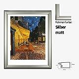 Kunstdruck VAN GOGH - Terrasse de Café Caféterasse am Abend 40 x 50 cm mit MDF-Bilderrahmen & Acrylglas reflexfrei, viele Farben zur Auswahl, hier Silber matt